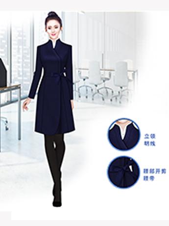 高端大衣定制,藏蓝色时尚女士大衣,高端女士大衣