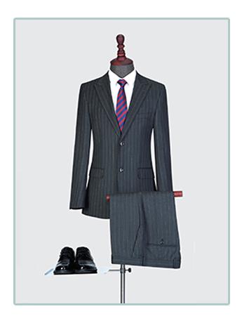 竖条纹西服套装男士三件套商务职业正装