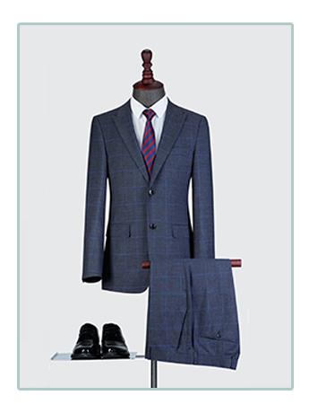 高端格子西服套装男士三件套商务休闲西服