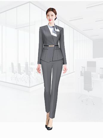 职业装定制  时尚职业装女士春秋季 高级灰色时尚职业装