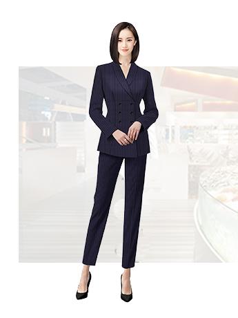 竖条纹女士职业西服春秋季时尚大气西服套装