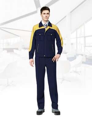 纯棉长袖工作服套装男春秋反光条工作