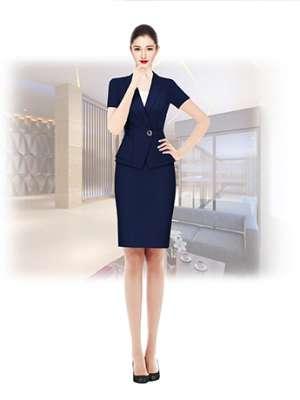 职业装定制  时尚职业装女士 藏蓝色套