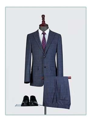 高端格子西服套装男士三件套商务休闲