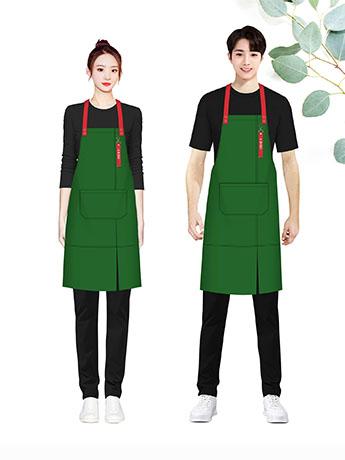 围裙定制餐饮餐厅服务员工作服绿色男女同款