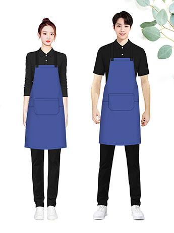 墨蓝色围裙定制印字工作服男女夏季薄款