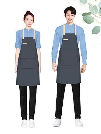 快餐厅餐饮厨房家用服务员纯棉全棉工作服男女围裙定制